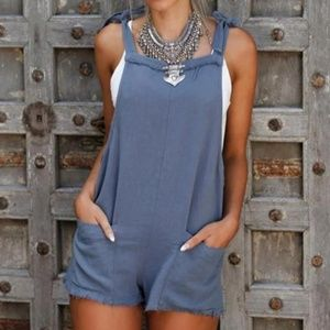 Hali Distressed Overall Shorts - Blue